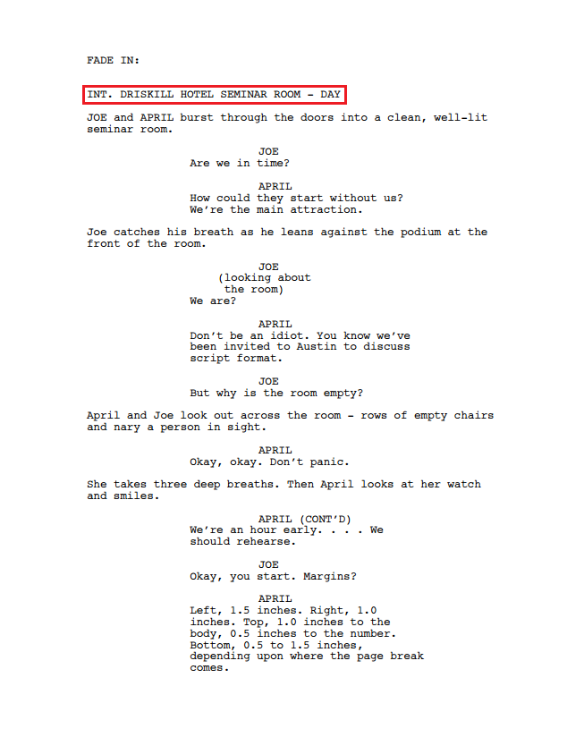 Script sample from www.oscars.org